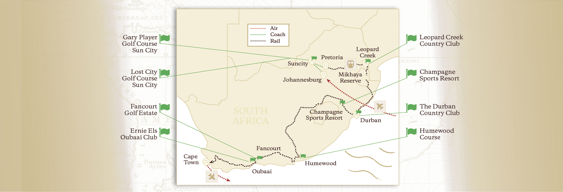 South African Golfing Safari Map