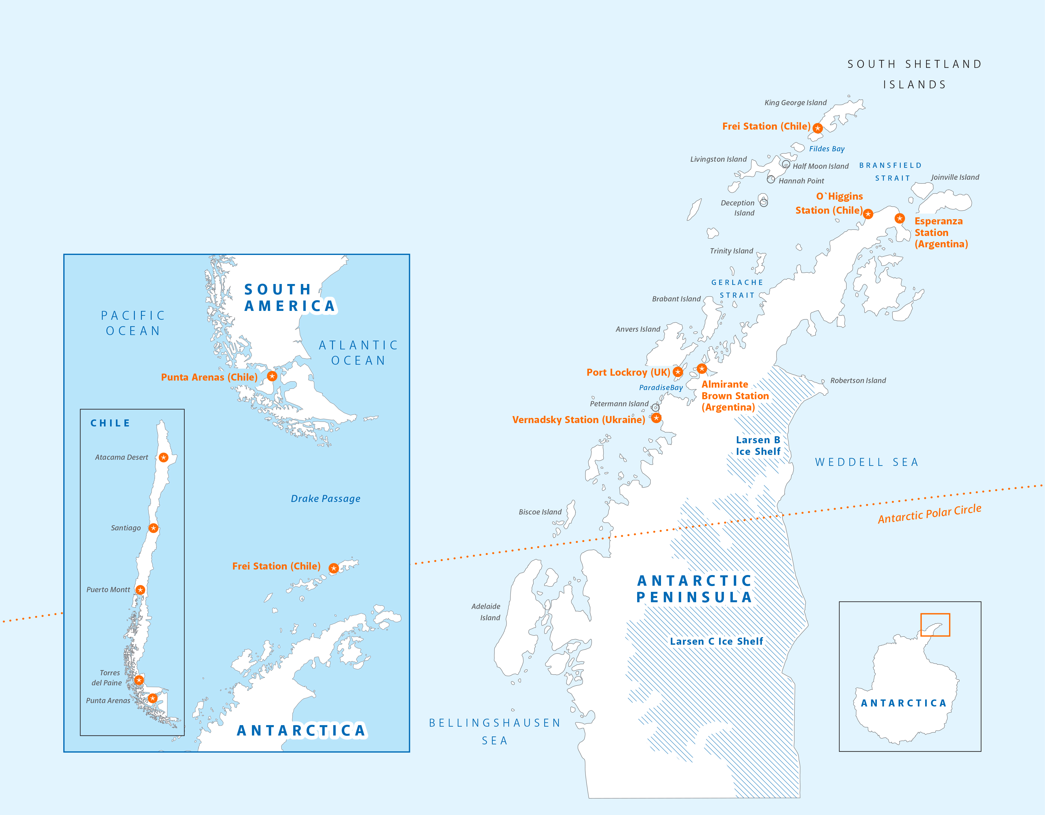 Antarctica Polar Circle Expedition Map