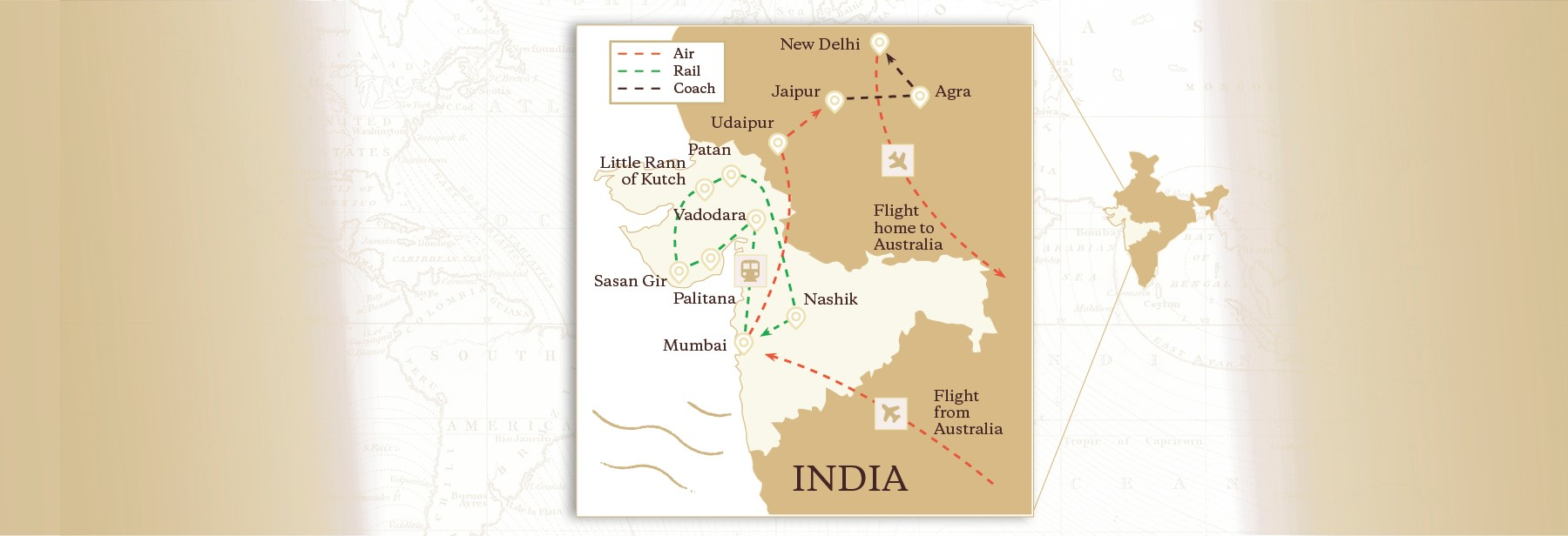 Royal Journey of India Map