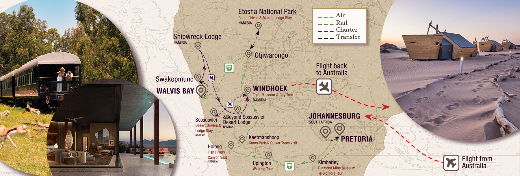 Namibian Exploration by Trains, Planes and Automobiles Map
