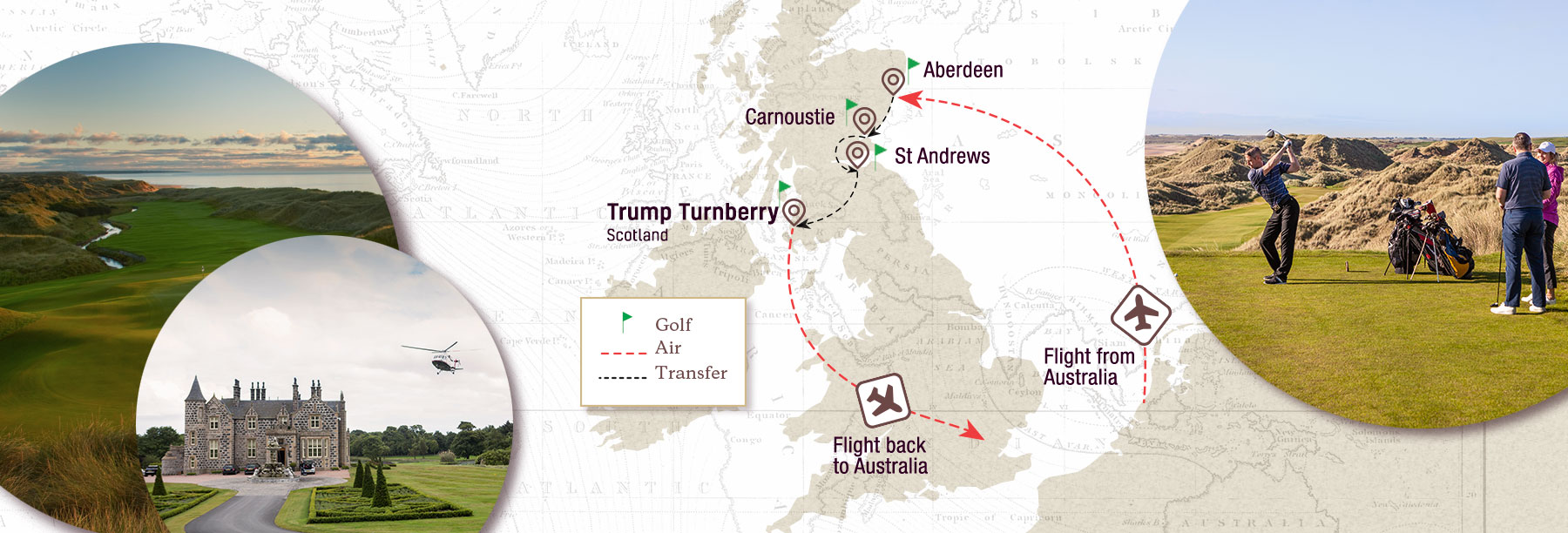 Exclusive Scottish Links Golf Tour Map